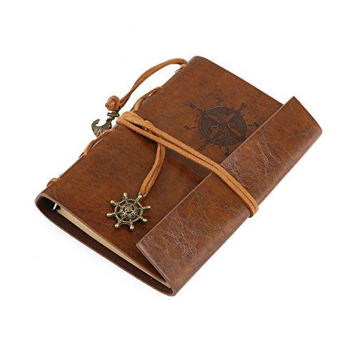 Carnet de Notes en Cuir Vintage Cahier de voyage à feuilles mobiles (brun)