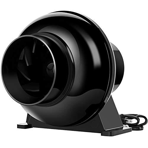 iPower GLFANXINLINELITE4 4 Inch 195 CFM Inline Duct Ventilation Fan Air Circulation Vent Blower for Grow Tent, 4' Lite, Black