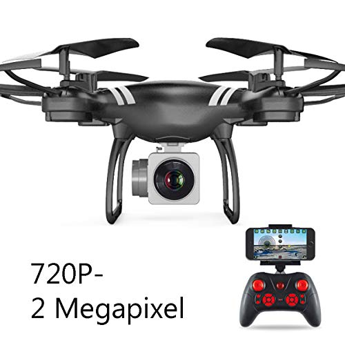 APJS KY101 S8 RC Droni Quadricotteri Action Cam con Fotocamera 720P, 2.4Ghz WiFi Live Video FPV UAV Velivoli Camera HD da 2MP, Hold Altitude modalit Headless, Facile da Pilotare,Nero