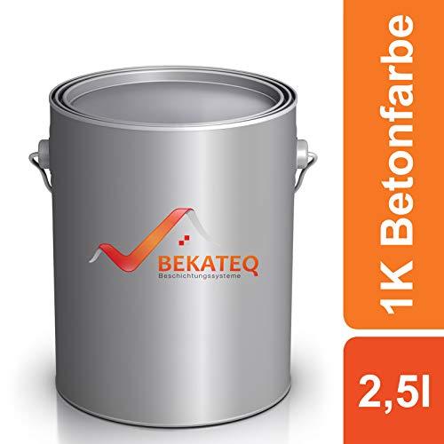 Bekateq LS-470 Bodenfarbe, seidenmatt RAL9010 Weiss 2,5l, 1K Betonfarbe zur Beschichtung und Versiegelung von Beton, Mauerwerk, Stein, Putz