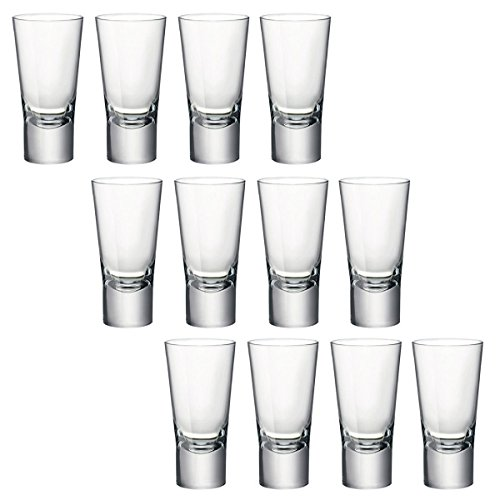 Bormioli Rocco, Ypsilon, bicchierini per shot di Vodka, a vetro doppio temperato, da 70 ml, Vetro, Set of 12