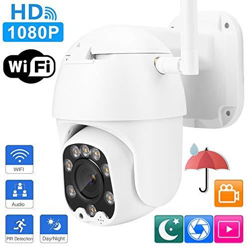Telecamera dome PTZ WiFi, HD 1080P 20X Zoom Telecamera dome per esterni IR Telecamera di sicurezza per videosorveglianza CCTV impermeabile(Spina UE)