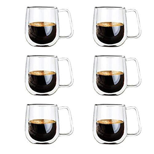 Vicloon Bicchiere Caffè Vetro,Doppia Parete Tazze con Manico per Tè, Caffè, Latte, Cappuccino, Espresso, Birra - Tazze di calore-resistenza Set di 6