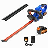 """Cordless Hedge Trimmer 20V, SORAKO Shrubbery Trimmer with 18"""" Blade, 3/4"""" Cut Capacity, Double Switches, 2.0Ah Li-ion Battery"""