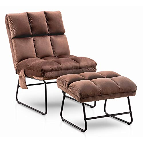 Mcombo Accent Chair with Ottoman, Velvet Modern Side Pocket Metal Legs, Club Chair Lounge Sofa Couch for Living Reading Room Bedroom 0014 (Brown)