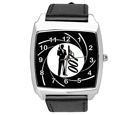 Taport, orologio quadrato in pelle nera per fan di James Bond 007
