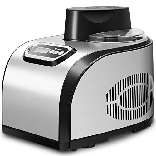 GOPLUS Eismaschine Eiscrememaschine Eiscremebereiter Frozen Yougurt Maschine mit Restarbeitszeitanzeige aus Edelstahl, 38, 5 x 29,3 x 31,2 cm