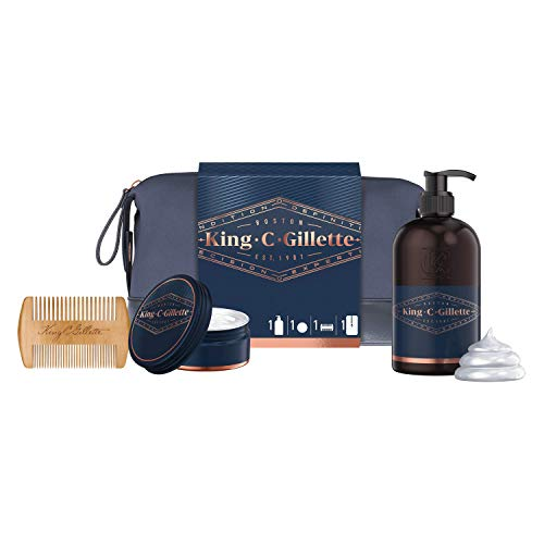 Gillette King C. Astuccio Kit Regalo Da Uomo Per La Cura Della Barba: Detergente Viso E Barba 350 Ml + Balsamo Ammorbidente Barba 100 Ml + Pettine per barba Gillette