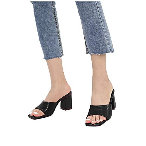 YESMAN Pantuflas de piña gruesa con tacón alto para mujer, sandalias de tacón alto, sandalias de tacón alto, para mujer, sexy, sin deslizarse en la parte posterior, para vestido de moda