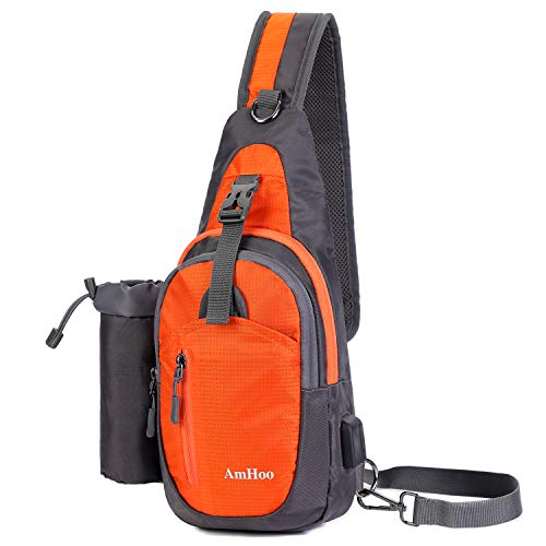 AmHoo Sling Backpack Chest Shoudler Crossbody Bag Waterproof Hiking Daypack Small Orange