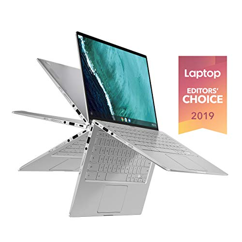"Asus Chromebook Flip C434 2 In 1 Laptop, 14"" Touchscreen FHD 4-Way NanoEdge, Intel Core M3-8100Y Processor, 4GB RAM, 64GB eMMC Storage, All-Metal Body, Backlit KB, Silver, Chrome OS, C434TA-DSM4T"