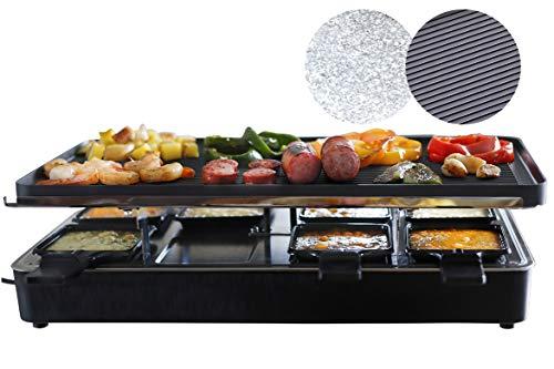 Milliard Raclette Grill Tischgrill für 8 Personen, mit wendbarer Grillplatte Granitplatte, 8 Antihaftbeschichtet Grillfläche und Holzspatel (EU-Model)