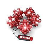 STKR Concepts - 00-105 Magnetic Light Mine Hands - Free Task Light Stocking Stuffer - 5 - Pack, Red