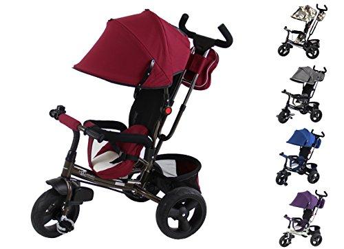 Clamaro \'Buttler GT\' 4in1 Kinderwagen Dreirad ab 1 Jahr mit lenkbarer Schubstange, flüsterleise Gummireifen und Sonnendach, durch 4-Fach Umbau für ab ca. 1-5 Jahre geeignet, Schwarz/Bordeaux Rot