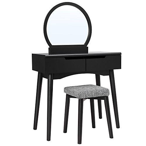 VASAGLE Vanity Table Set with Round...