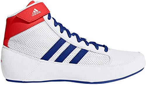adidas Kids HVC Wrestling Shoe, White/Blue/Red, 5 Big Kid