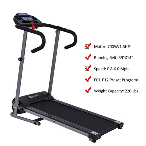 Goplus 1100W Electric Folding Treadmill, with LCD Display and Heart Rate Sensor, Compact Running Machine for Home 3