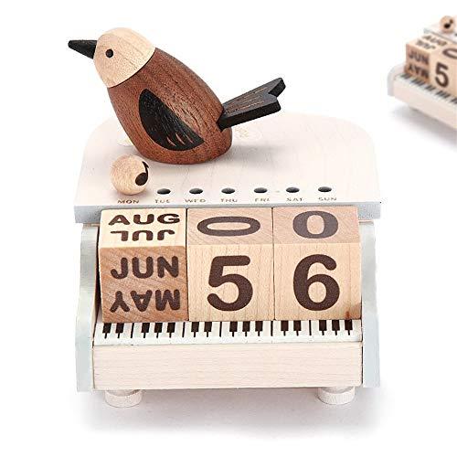 ZhihuaHd Wooden Music Box Piano Bird Perpetual Calendar...