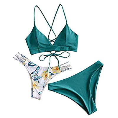 Material: Nylon,Polyester,Spandex,good elasticity Crossing braided lace-up straps bra top,flowers and braided ladder straps bottoms,wire free,padded cups Grab people eyes with this women bikini in your vacation This women two piece braided bikini set...