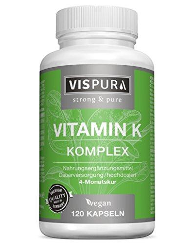 VISPURA® Vitamin K Komplex hochdosiert K1 1.000 µg + K2 Menaquinon (1.000 µg MK4 + 200 µg MK7) - 120 Kapseln vegan beste Bioverfügbarkeit ohne Trennmittel Magnesiumstearat