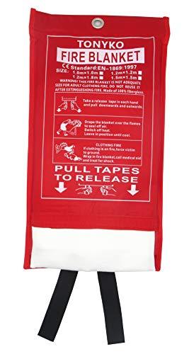 Tonyko Fiberglass Fire Blanket for Emergency Surival, Flame Retardant...