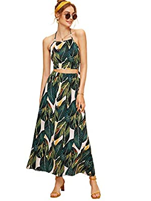 Note: Fabric has no stretch Feature: halter neck, knot back , A line, tropical print, sleeveless Suit for casual, beach, travel, and daily wear Garment Care: Hand wash, machine wash and hang dry, do not use bleach Please check our size chart to match...