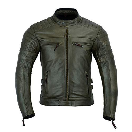 LeatherTeknik DC-4092 - Chaqueta de piel para hombre con armadura, color marrón