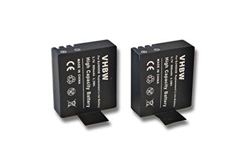 2x vhbw Li-Ion Batteria Set 900mAh (3.7V) per Videocamera Fotocamera Sportiva Camcorder DBPower EX4000, EX5000 come SJ4000.
