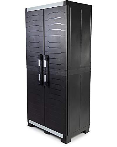Ondis24 Werkzeugschrank Powercab XXL schwarz, 89x54x188cm, Werkstattschrank Metall & Kunststoff, Alu Griffe, Kunststoffschrank 3 Einlegeböden je 45kg, max 205kg belastbar