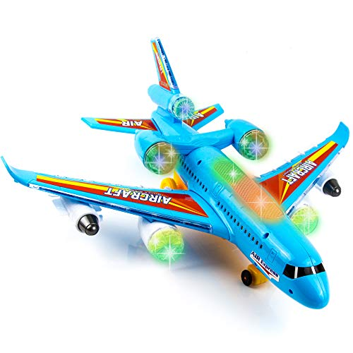 Toysery Airplane Toys for Kids, Bump and Go Action, Toddler Toy Plane with LED Flashing Lights and Sounds for Boys & Girls 3 -12 Years Old (Airplane)