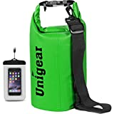 Unigear Dry Bag Waterproof, Floating and Lightweight Bags for Kayaking, Boating, Fishing, Swimming and Camping with Waterproof Phone Case (Green, 10L)