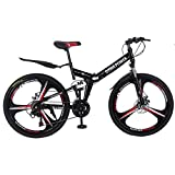 Smallrabbit Outroad Mountain Bike for Adult Teens, (Ship from US)26 Inch Bike Mountain Bikes 21 Speed Folding Bicycle Full Suspension MTB Bike for Men/Women (Black#)