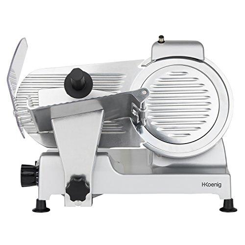 H.Koenig Trancheuse électrique à jambon, viande, saucisson, charcuterie MSX220, professionnelle, précise, épaisseur de la coupe 0-12 mm, lame italienne 20 cm, aiguiseur intégré, large plateau, 282 rpm