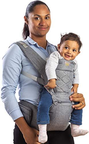 Flok - Marsupio Neonati Ergonomico Porta Bambino 0 36 mesi con Sedile e Cappuccio Removibile. Evolutivo, Regolabile e Traspirante. Multiposizione, Frontale, Schiena e Fronte Strada