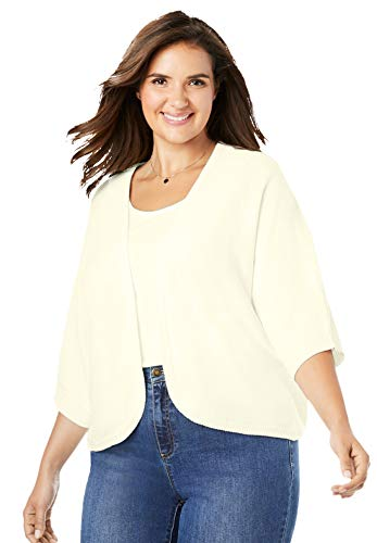 Woman Within Women's Plus Size Rib Trim Cardigan Shrug - 3X, Ivory