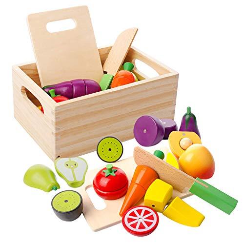 mysunny Frutta e Verdura Giocattolo, Cucina Magnetico Legno per Bambini Giocattoli, Cucina di Simulazione di educativi e percezione del Colore Giocattolo per Bambini in et prescolare Ragazzi Ragazze