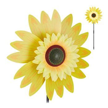 Relaxdays Moulin à Vent Fleurs, décoration Tournesol, Enfants, Balcon, terrasse, Jardin, à Planter, 70 cm de Haut, Jaune