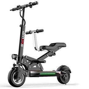 Scooter Eléctrico For Cojín De Asiento Grande Doble En Forma De Z For Madre E Hijo,Suspensión En Las Cuatro Ruedas…