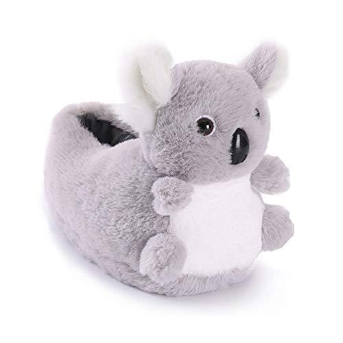 Pantofole di peluche animale Triceratops Koala inverno caldo cotone scarpe per uomo donna, (Koala grigio.), Small
