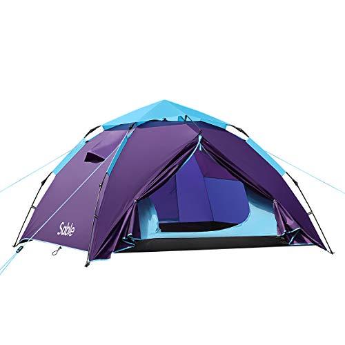 Sable Pop Up Zelt 3 Personen Wurfzelt zweischichtiges Kuppelzelt Winddicht Wasserdicht und Schnellaufbau für Camping Trekking Outdoor, 210 x 190 x 120 cm, Kleines Packmaß, inkl. Aufbewahrungstasche
