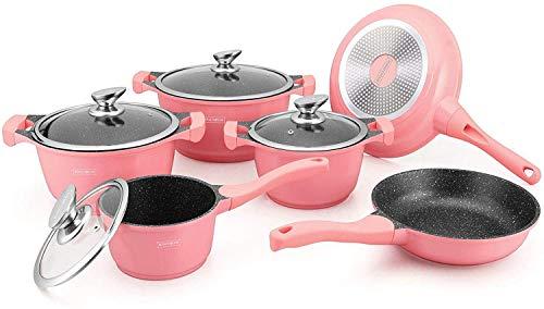 Royalty Line Sudhomedeco@ - Batteria da cucina per tutti i tipi di fuochi a induzione senza PFOA, cottura senza grassi, rivestimento in Greblon C3+, tecnologia Tedesca, colore: Rosa