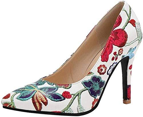 RAZAMAZA Mujer Moda Tacón de Aguja Fiesta Vestido Zapatos Tacón Alto Pumps sin Cordones Bombas Zapatos Floral Impresión Blue Talla 33 Asian