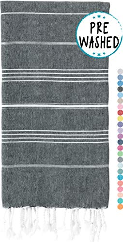 WETCAT Original Turkish Beach Towels (39 x 71) - Prewashed Bath Towel, 100% Cotton - Highly Absorbent, Quick Dry and Ultra-Soft - Washer-Safe, No Shrinkage - Stylish, Eco-Friendly - [Black]