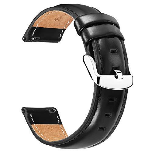 BINLUN Unisex Leder Uhr Armband 22MM Schwarz FBL00011B-LBB22