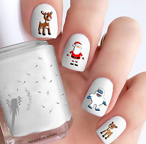 Rudolph the Red Nosed Reindeer (Clear Water-Slide Nail Decals)