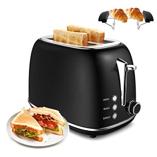 Tostapane 2 Fette, morpilot Toaster Tostapane Retro Acciaio Inossidabile, 6 Livelli Regolabili con...