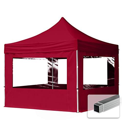 TOOLPORT Faltpavillon Faltzelt 3x3m - 4 Seitenteile ALU Pavillon Partyzelt rot Dach 100{20887b609b1dbbeca859287402d2a72cf8552893e3d215cb131e28195f20da6d} WASSERDICHT