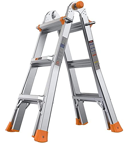Folding Ladder, 13 ft Aluminum Extension Ladder with 300 lbs Load Capacity, Portable Ladder with Non-Slip Rubber feet, Multi-Position, Smart Utility, Ideal for Working Indoor/Outdoor