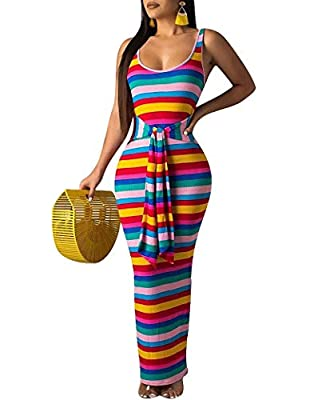 Casual rib striped printed racerback belted bandage tunic summer beach club maxi dress sundress Material: stretch venetian and polyester Occasion: party, club, nights out, cocktail, evening, holiday and beach Please see size specification in descript...