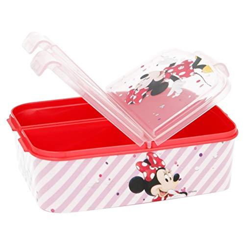 Minnie Mouse Kinder Premium Brotdose Lunchbox Frühstücks-Box Vesper-Dose mit 3 Fächern BPA-FREI